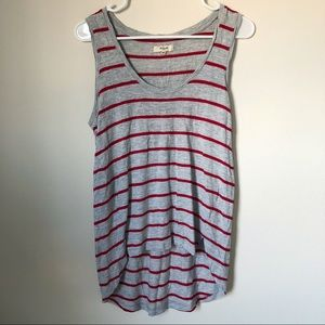 3/ $25🌵Madewell Gray Tank Top with Red Stripes